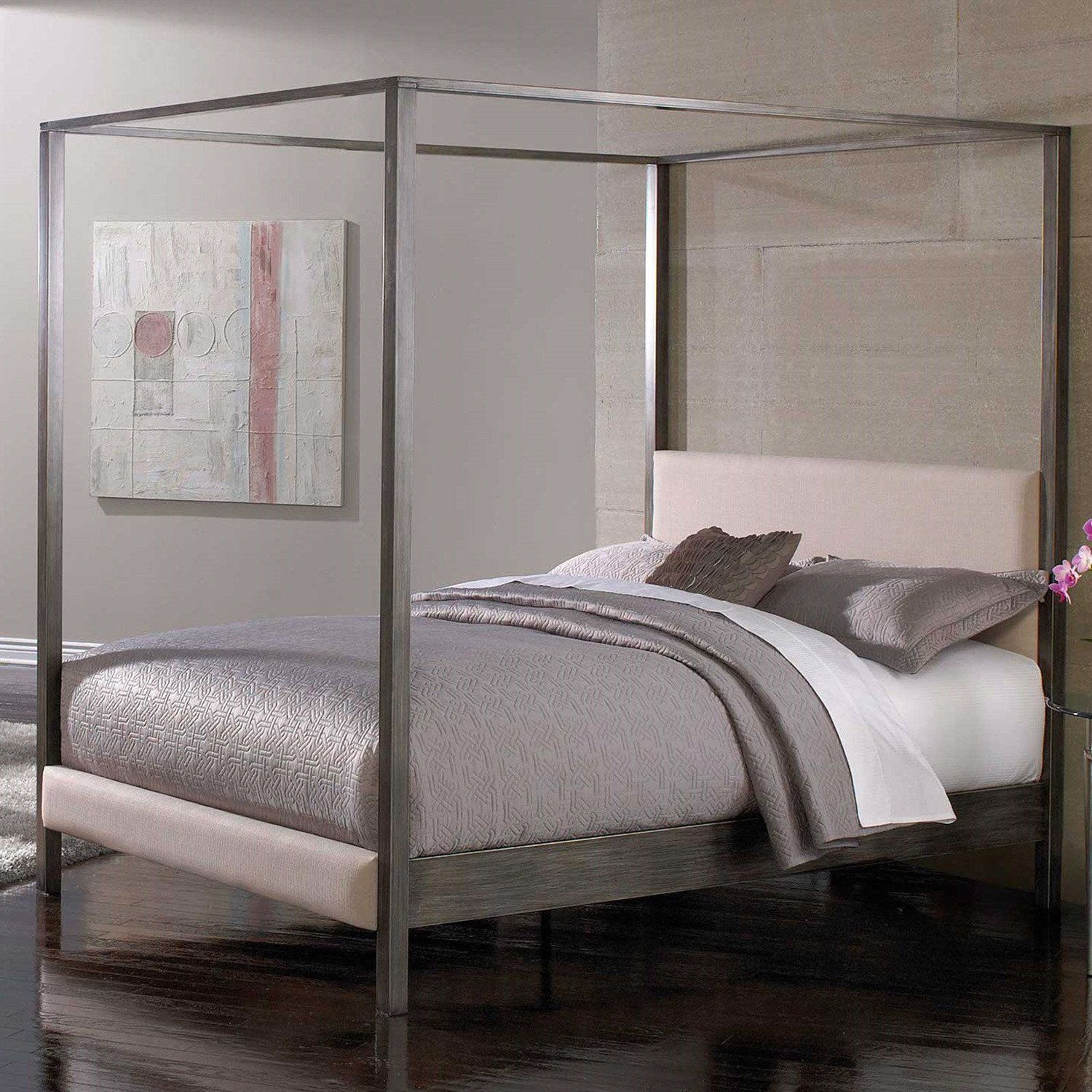 Queen size Modern Metal Platform Canopy Bed Frame with