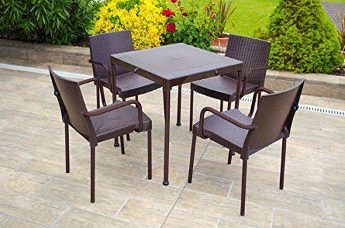 48x52x79 cm Garden Life 8308-08 Sill/ón Trenzado con apoyabrazos y Patas de Aluminio Wengu/é