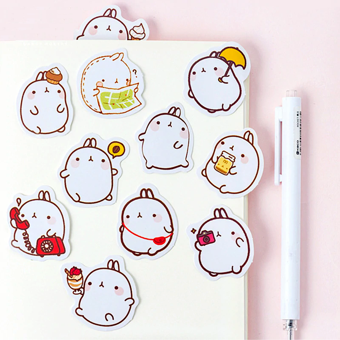 Molang Paper Stickers Kawaii stickers, Cute stickers