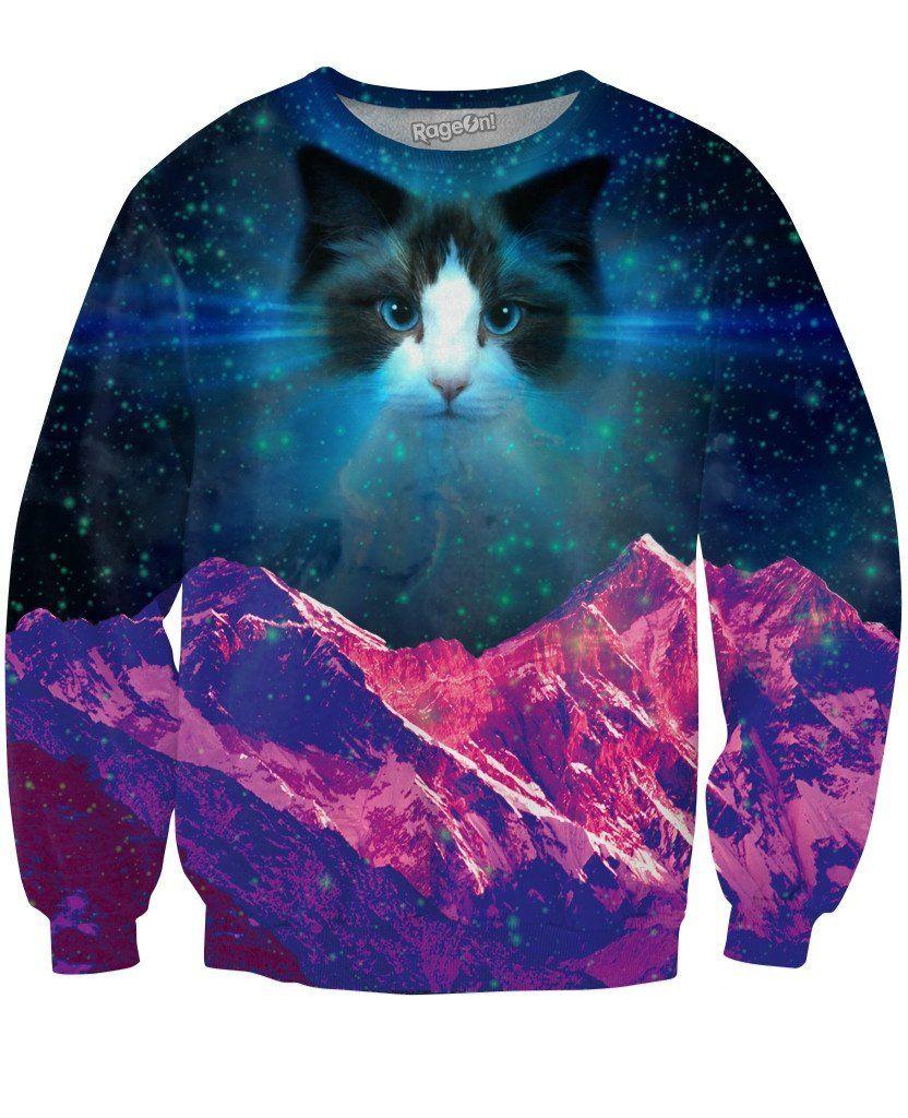 Pbj Space Kitty Crewneck Sweatshirt Animal Sweatshirt Cat Sweaters Cat Sweatshirt [ 1024 x 832 Pixel ]