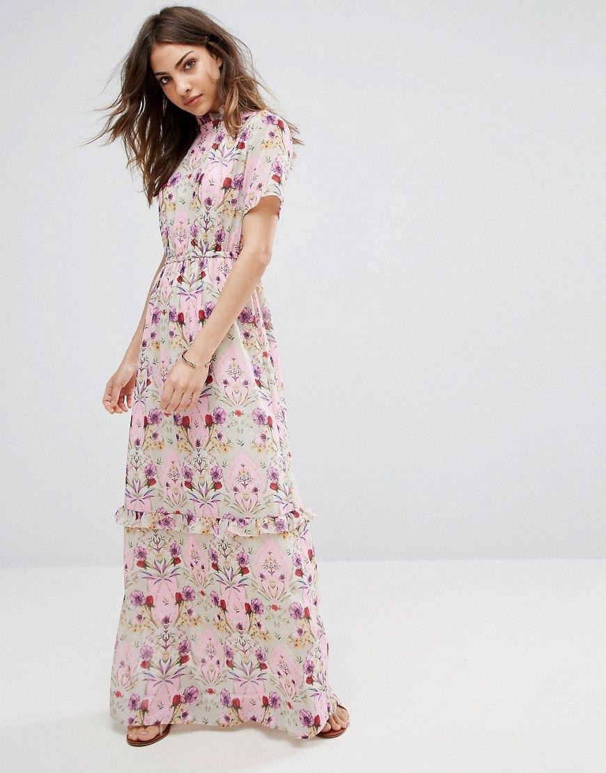 vero moda - hochgeschlossenes maxikleid mit rüschen - rosa