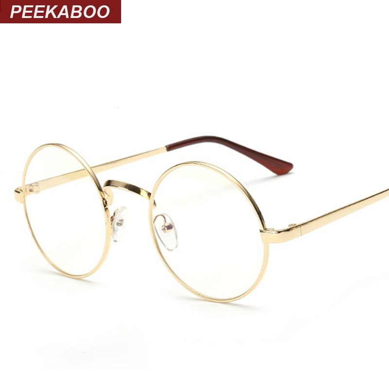 3f92b85471 Peekaboo Cheap small round nerd glasses clear lens unisex gold round metal  frame glasses frame optical men women black uv oculos