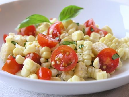 fresh corn salad with tomatoes and basil