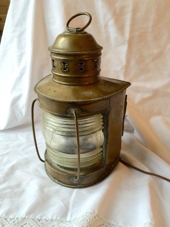 "10/"" PORT OIL LAMPS Ship Lantern Wall Hanging Decorative Brass Lantern Red"