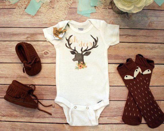 Deer OnesieR Baby Shower Gift Girl Clothes Cute Onesies Rustic Country Bodysuit Hunting