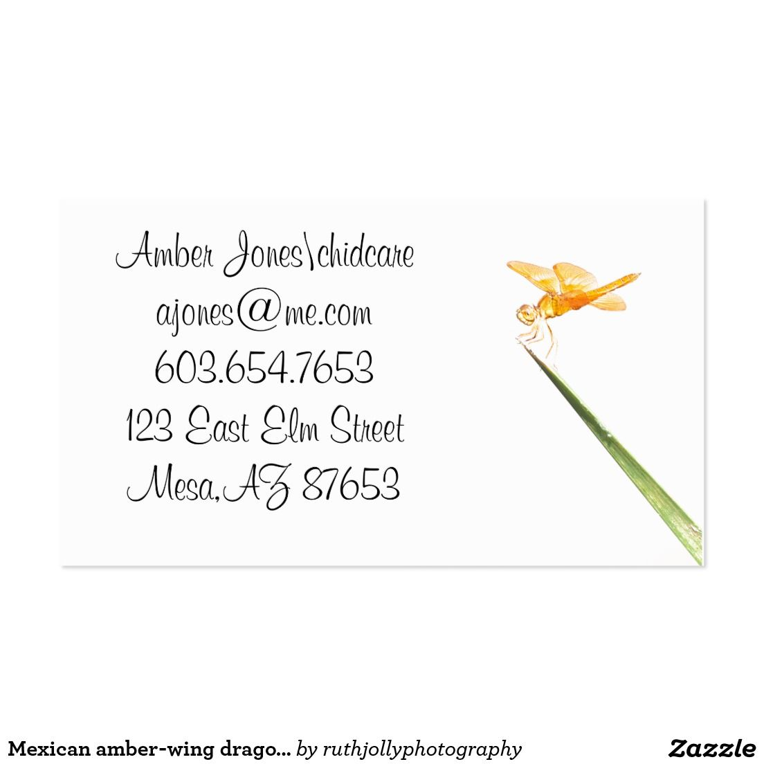 Mexican amber-wing dragonfly business card | Dragonflies, Business ...