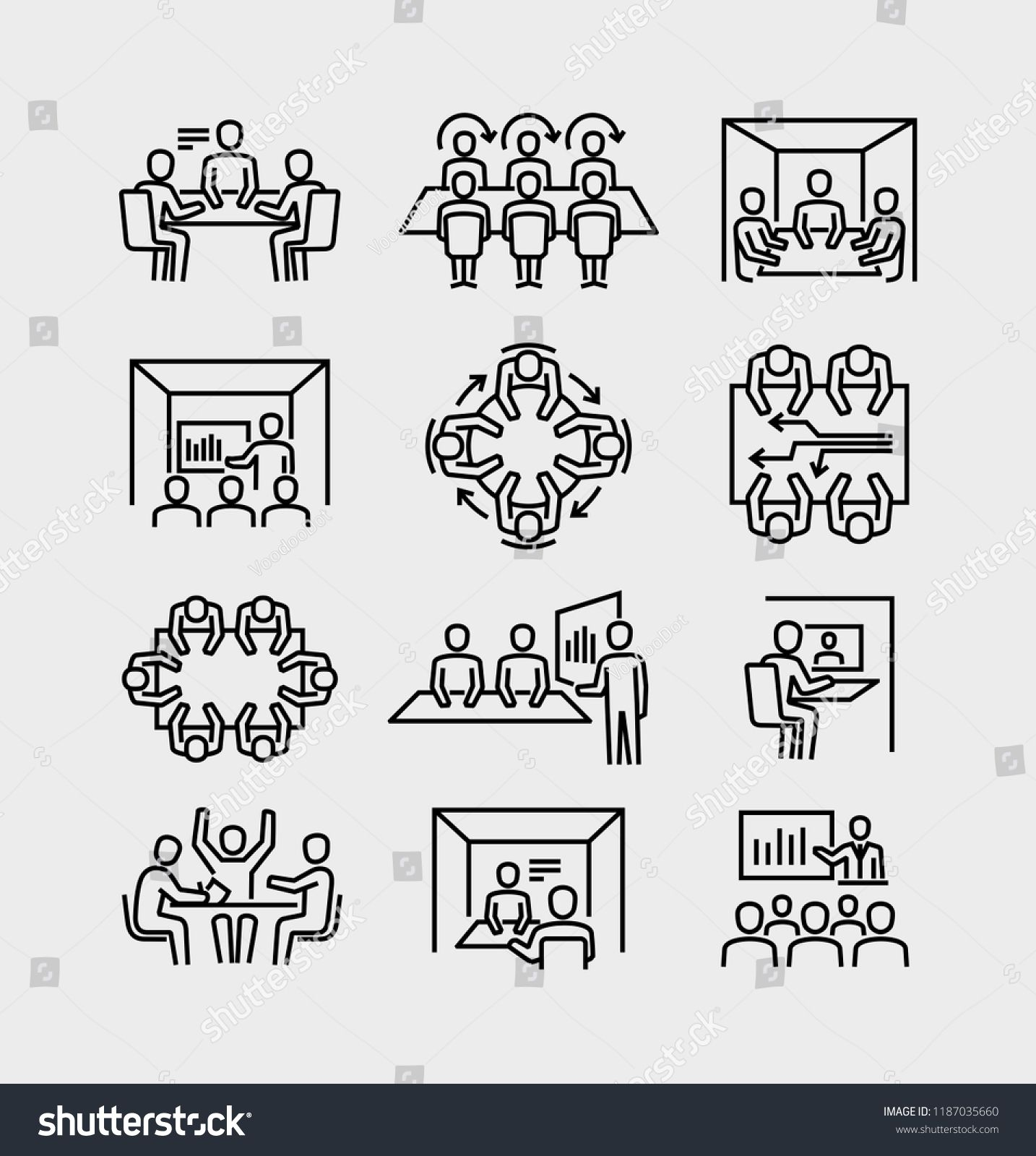 Business Meeting Room Vector Line Icons Ad Sponsored Room Meeting Business Icons Business Icon Business Advertising Design Line Icon