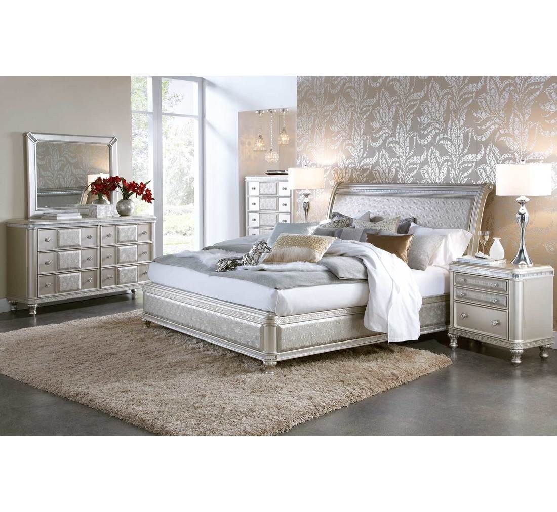 Hefner Silver 5pc King Bedroom Group Badcock More Silver Bedroom Silver Bedroom Furniture Bedroom Set,Picture Frame On Wall Free