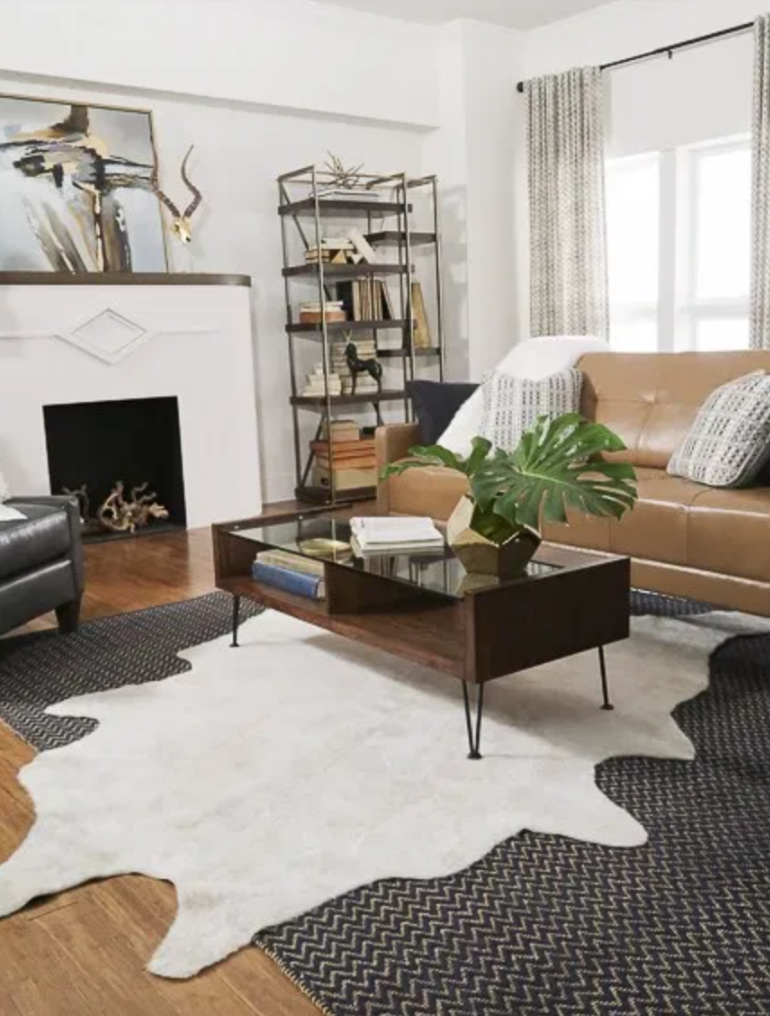 Layered Cowhide Rugs Small Living Room Google Search In 2021 Cowhide Rug Living Room Living Room Designs Rugs In Living Room