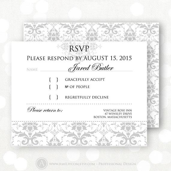 Printable Rsvp Card Gray Damask Winter Wedding Reply By Ameliycom Wedding Reply Cards Rsvp Card Reply Cards