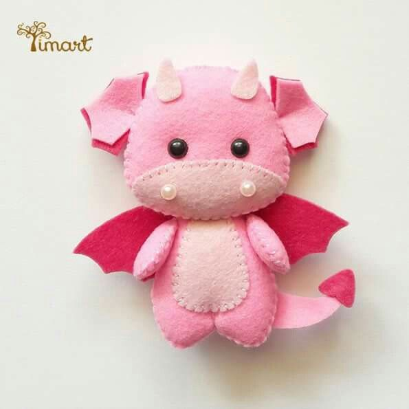 Cute felt dragon plushie #feltdragon