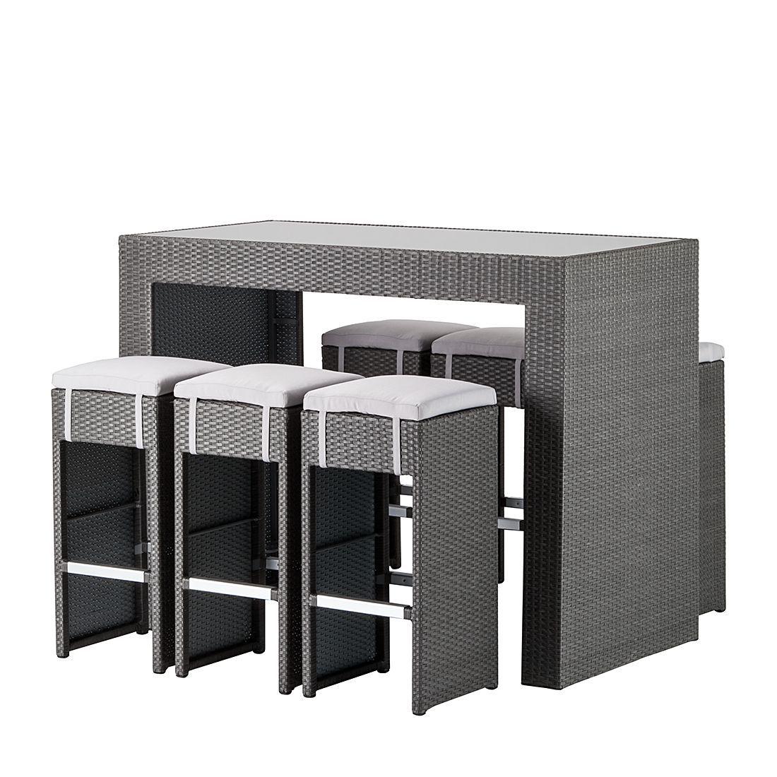 gartenbar-set paradise lounge (7-teilig) - polyrattan grau, Garten Ideen