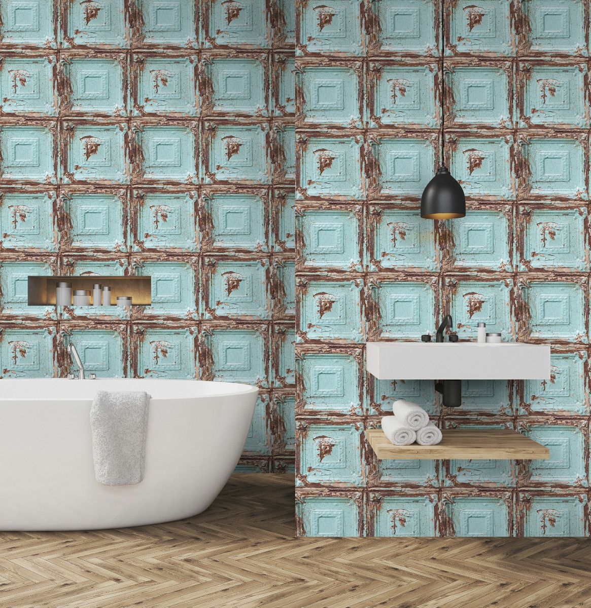 Turquoise And Brown Frame Square Wallpaper Blue Wallpapers Wallpaper Samples Removable Wallpaper