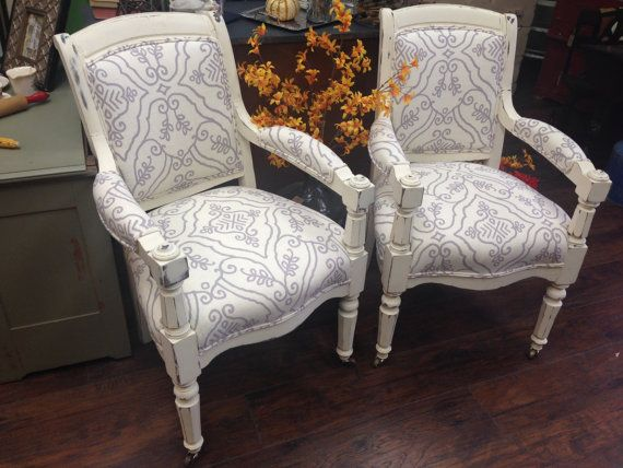 White and Lilac Arm Chairs, Antique Side Chairs, Occasional ...