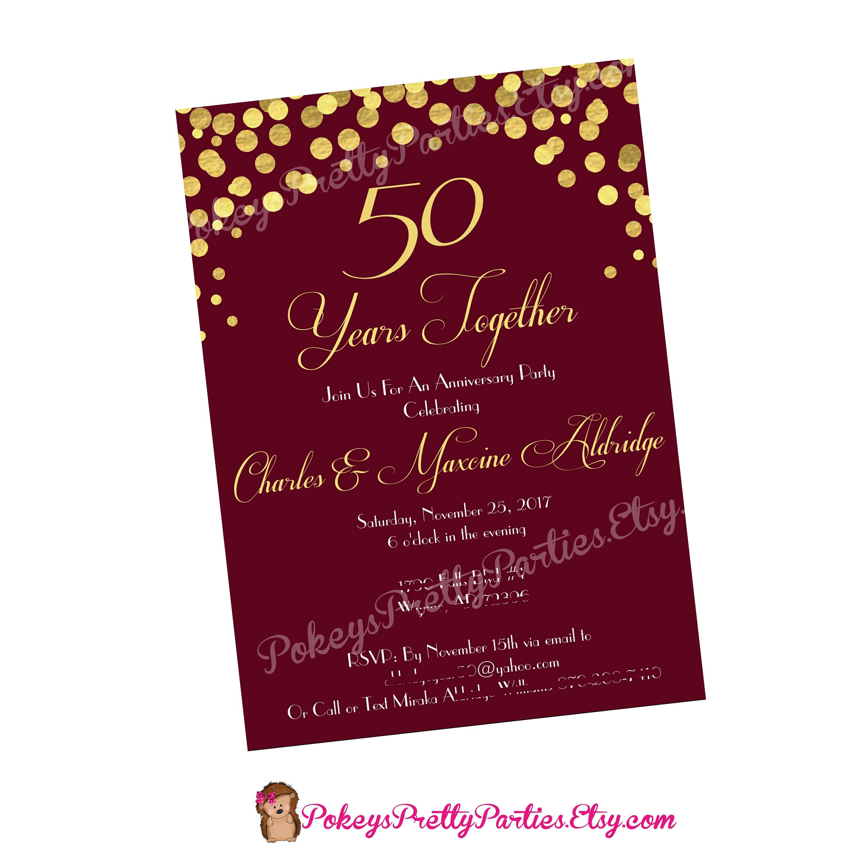 ANNIVERSARY Invite Party Invitation Printable File - gold wine ...