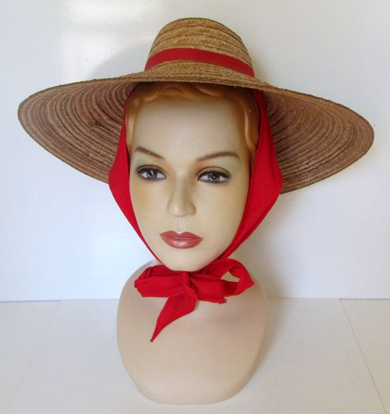 Vintage Wide Brim Straw Hat with Red Scarf by nanascottagehouse ... ebe440951c4