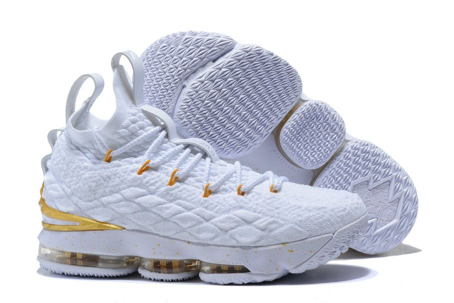 fc56664daff Cheap 2018 Nike Lebron James XV x Nike LeBron 15 Golden Triple White ...