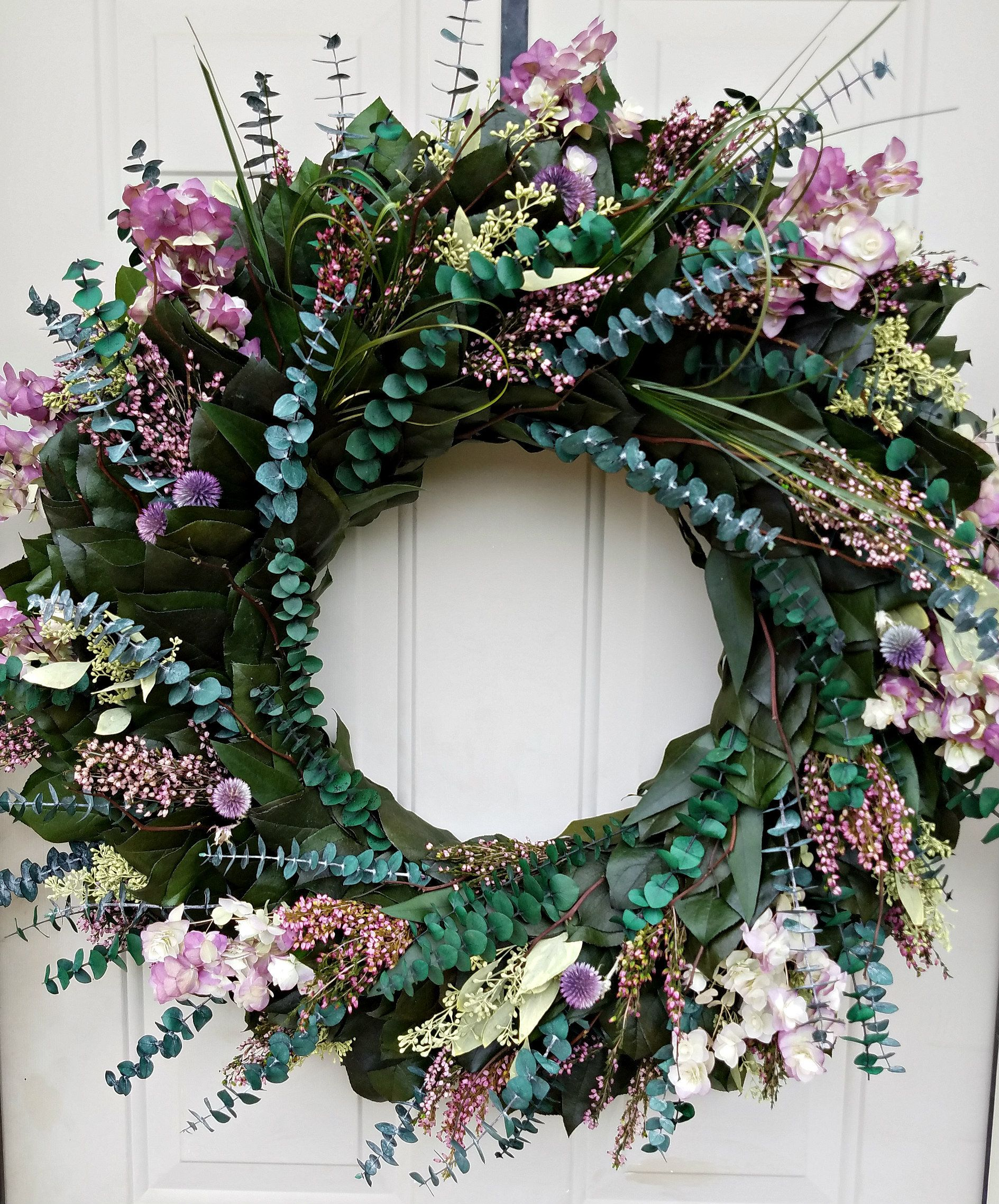 Photo of Large preserved eucalyptus wreath wreath / 30 inches