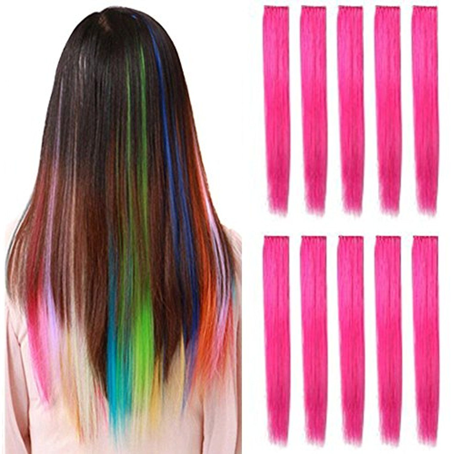 Opt 10 Pieces Of 22 Inches Straight Colored Party Highlight Clip