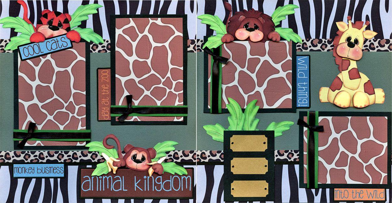 ANIMAL KINGDOM 2 premade scrapbook pages paper piecing layout zoo disney CHERRY   eBay