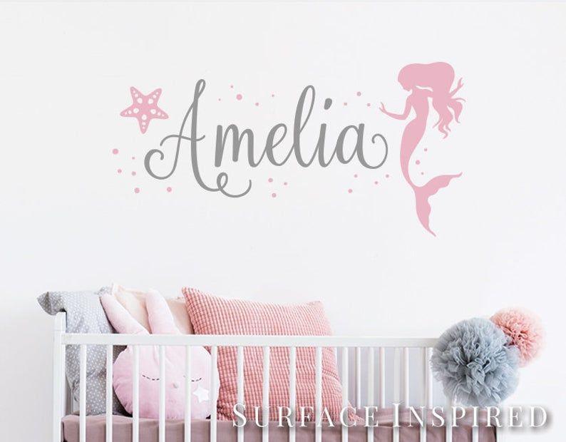 personalised mermaid wall sticker