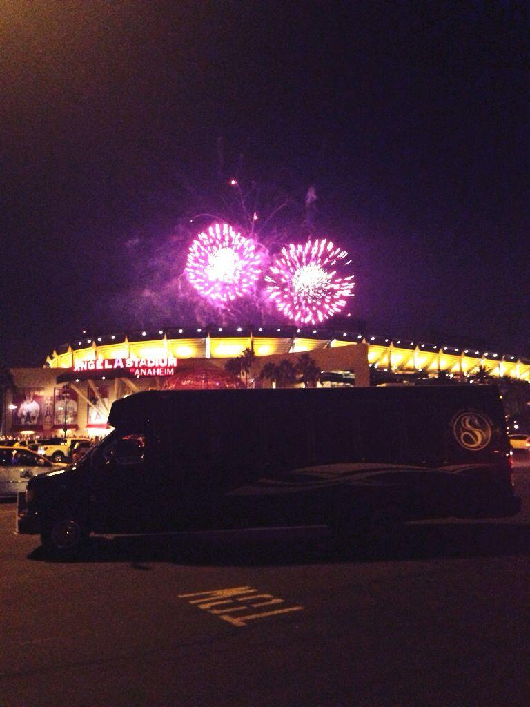 Angeles stadium baseball corporate limousine party bus