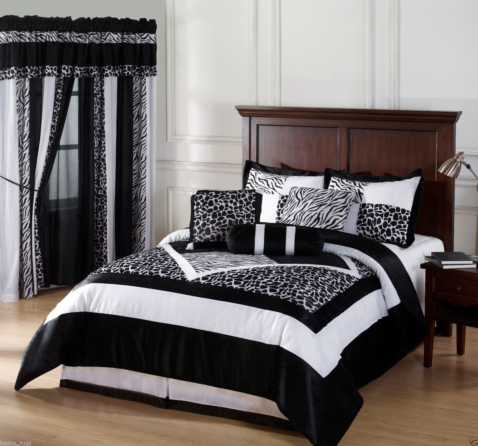 Black White Safari Zebra Print Queen Comforter Bed in A Bag 7pc | eBay