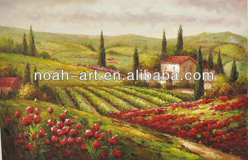 Handmade tuscany italian landscape oil painting canvas for Artworks landscape ltd
