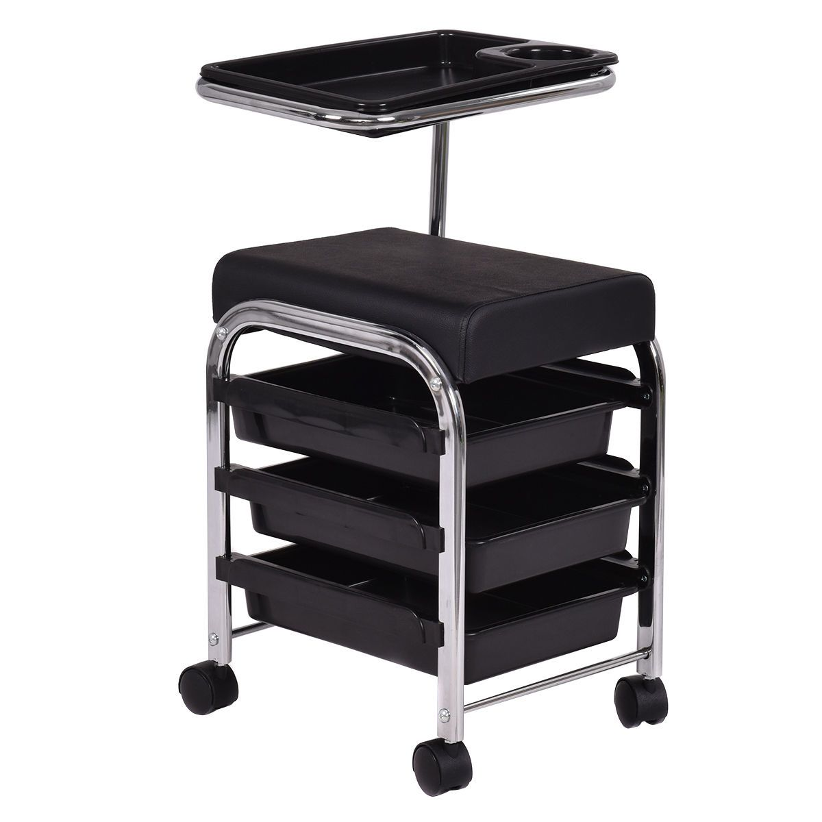 Black pedicure manicure nail cart trolley stool chair for Salon trolley