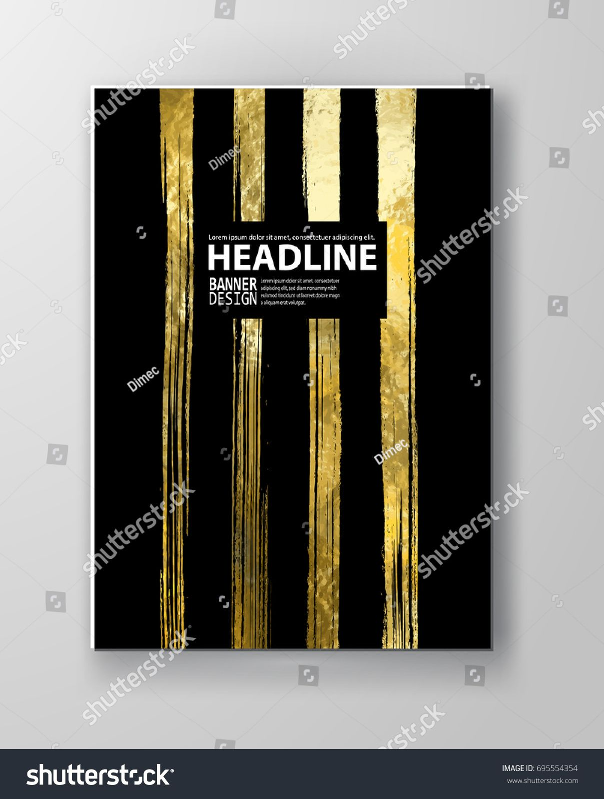 Vector Black And Gold Design Templates For Brochures Flyers