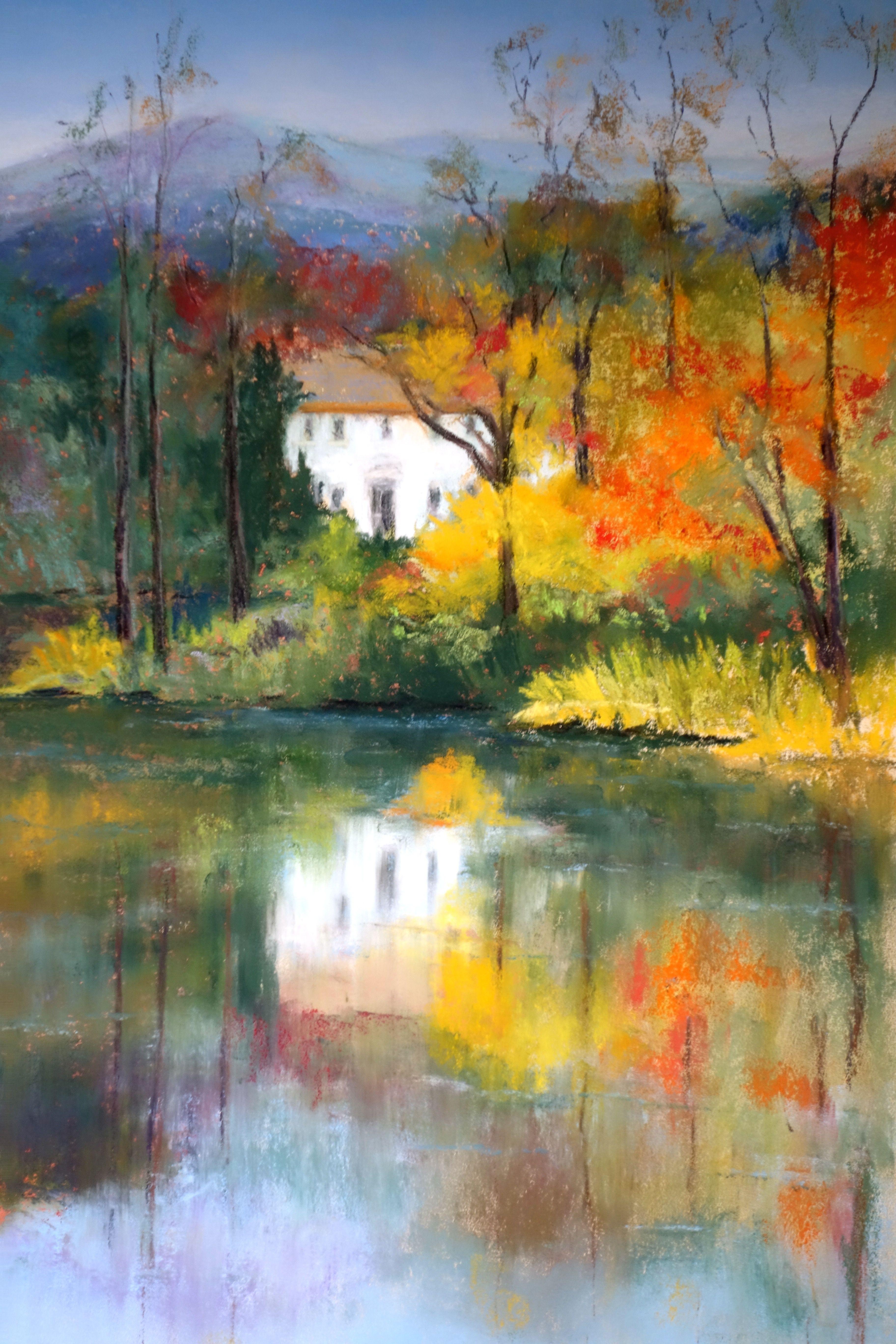 Autumn Reflection Paysage Pastel Peinture Paysage Arbres En