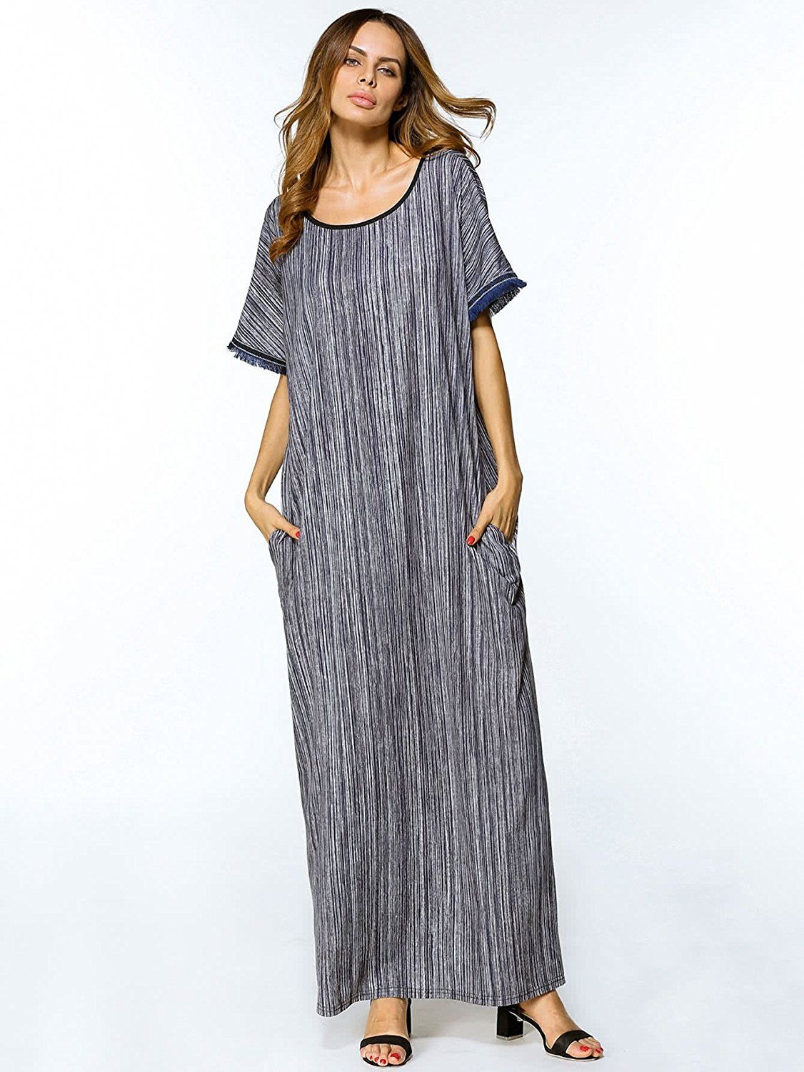 746e72f8cc7 Verdusa Women s Summer Round Neck Short Sleeve Long Maxi Dress with Pocket  Grey L at Amazon Women s Clothing store
