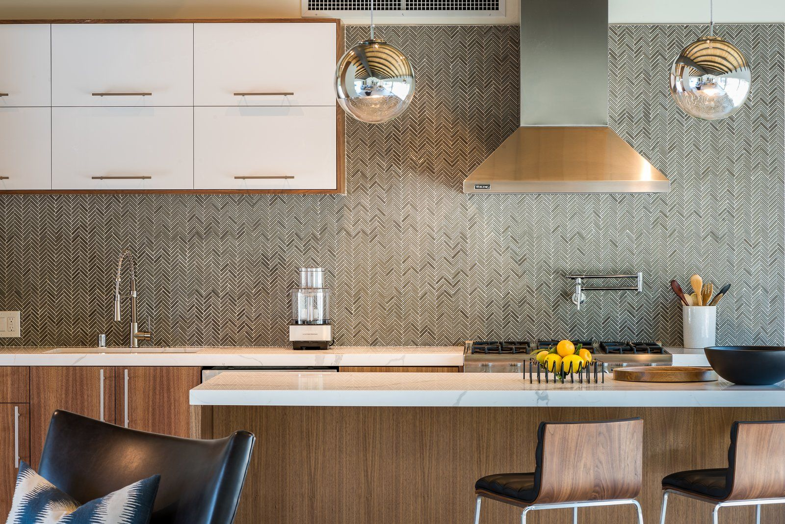 Photo 8 Of 16 In An Updated Palm Springs Estate Lists For 2 4m Kitchen Cabinetry Herringbone Tile Pattern Kitchen Design