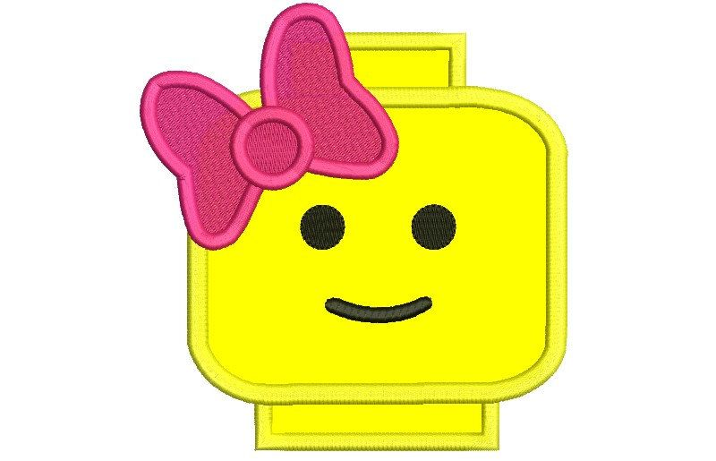 Girl Lego Embroidery Design Lego Head With Bow