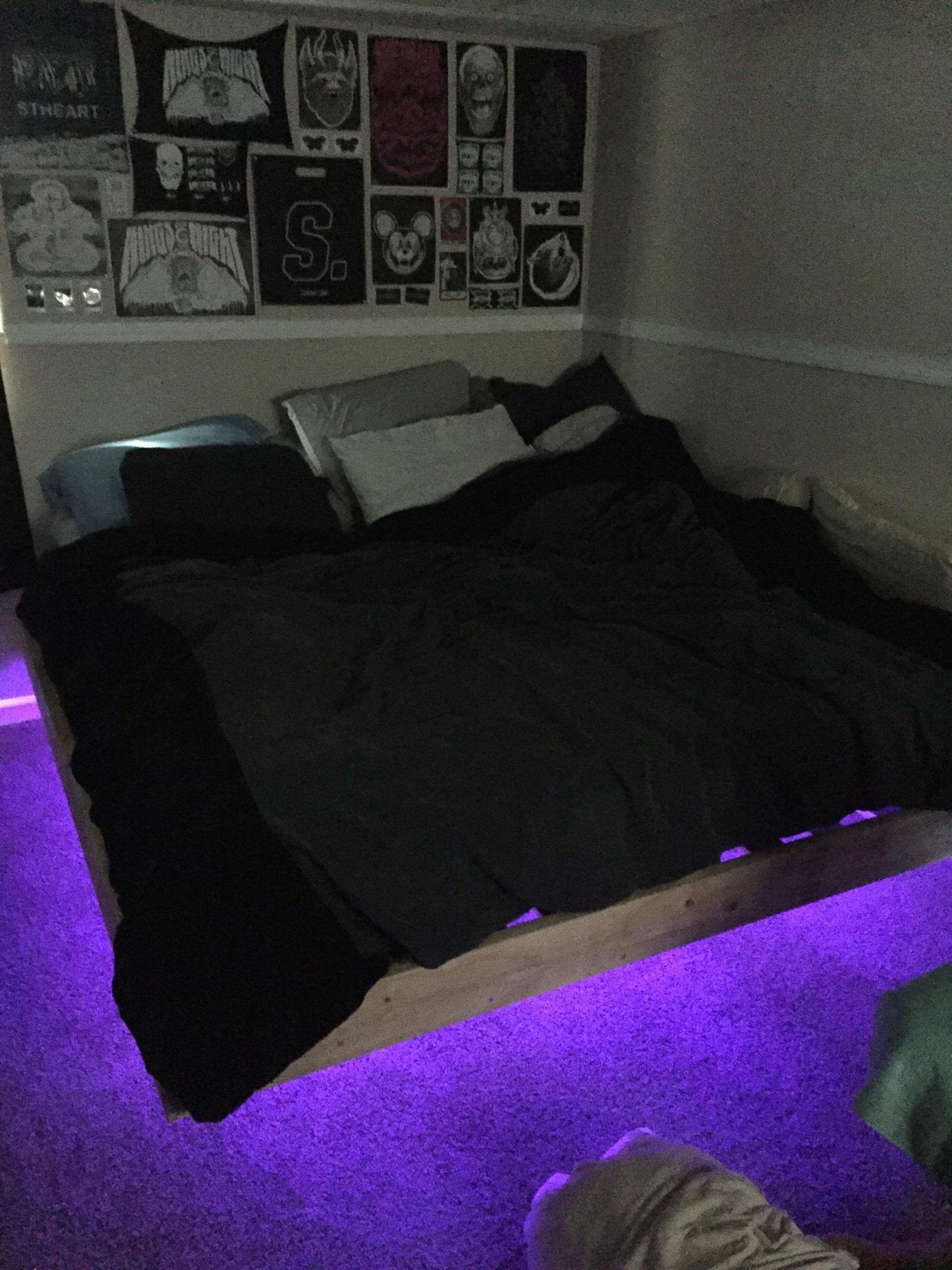 First Ever Diy Project Floating Bed With Led Lights Handmade Crafts Howto Diy Floating Bed Bed With Led Lights Floating Bed Diy