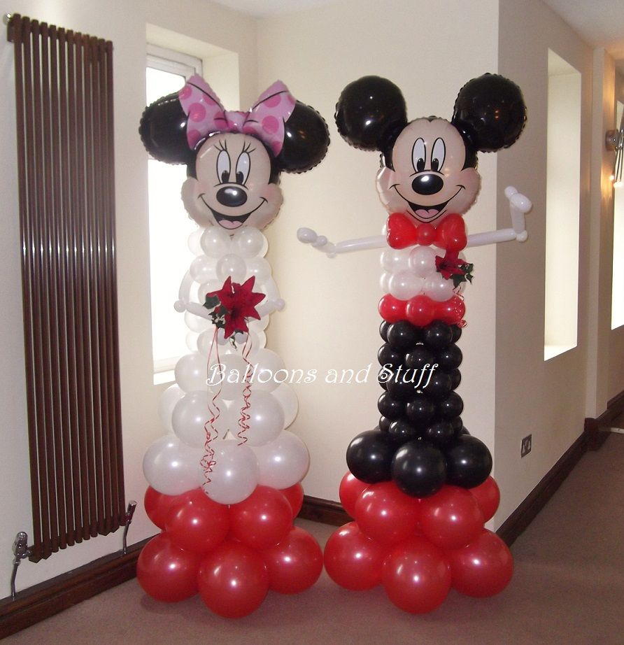 Mickey minnie mouse bride groom balloon decorations for Balloon decoration minnie mouse