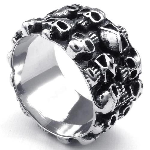 Men Stainless Steel Ring, Vintage Gothic Skull, 13mm Band