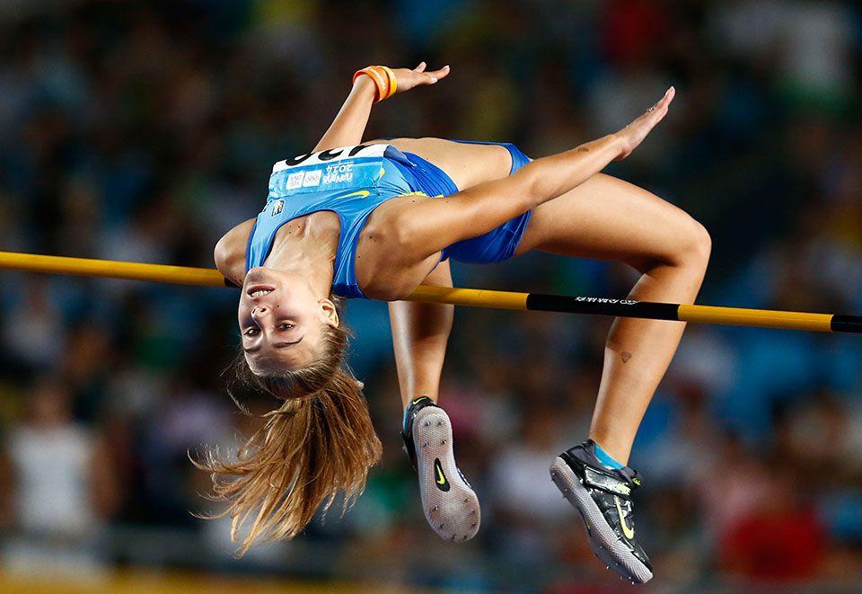 Athlétisme l'Ukrainienne Yuliya Levchenko, médaille d'or du saut en hauteur  dames