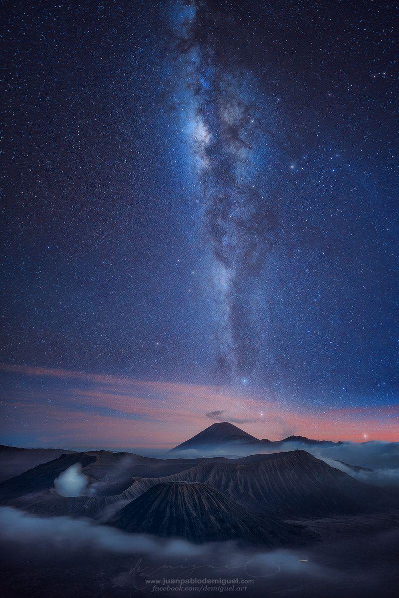 Bromoway By Juan Pablo De Miguel Sky Landscape Nature Travel Volcano Night Way Beautiful Indonesia Java Asia Dark Smoke Mount Mountain Universe Cl Indonesia