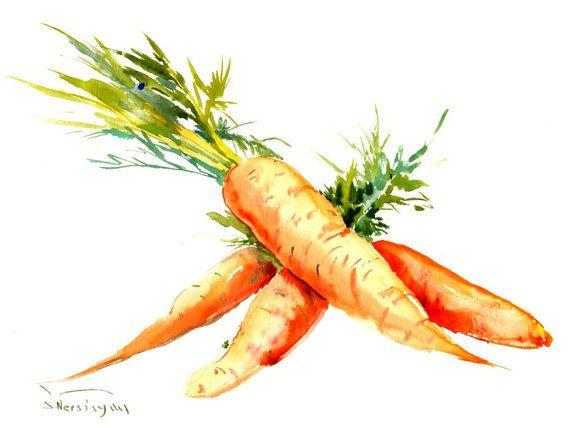 Carrots Painting 12 x 9 in vegetables vegan por ORIGINALONLY