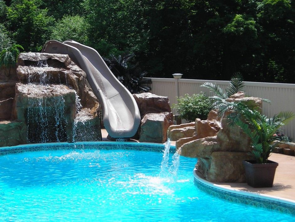 Small Design Swimming Pool On House With Cream Colour Stone Water Slide For To