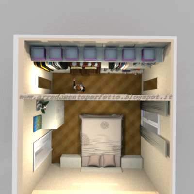 Vista dallalto della camera da letto con cabina armadio