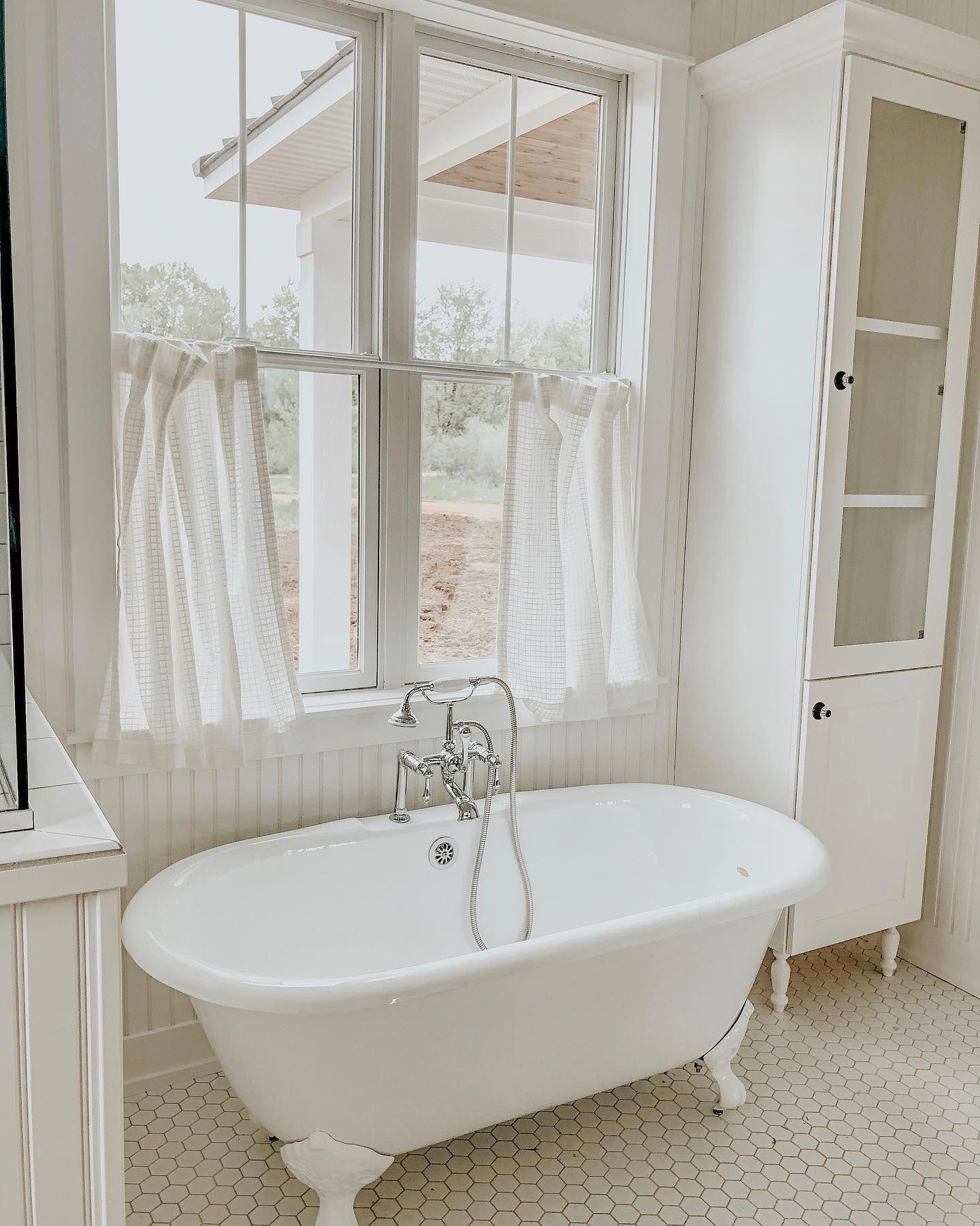 #whitetiledbathroom in 2020 | Farmhouse bathroom decor ... on Farmhouse Bathroom Tile  id=71778