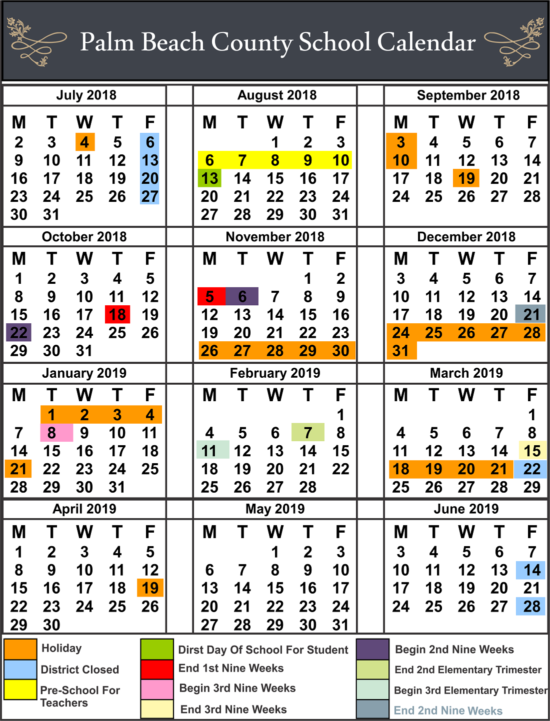 Palm Beach County School Calendar School Calendar Palm Beach Palm Beach County