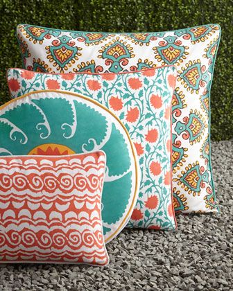 Patterned Outdoor Pillows By John Robshaw At Horchow Garden Decor Color Scheme Turquoise And Orange Want These