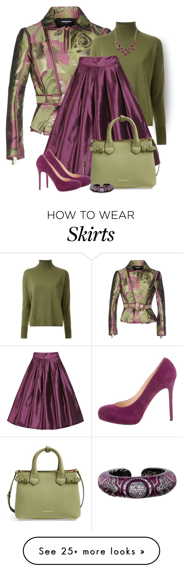 """""""Matching skirt and shoes"""" by lorrainekeenan on Polyvore featuring Dsquared2, Scanlan Theodore, Burberry, Matthew Campbell Laurenza, Christian Louboutin and Ruby Rocks"""