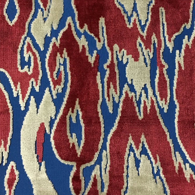 Upholstery Fabric - Harrow - Oxblood - Abstract Cut Velvet Home Decor Upholstery, Drapery & Pillow Fabric by the Yard-Available in 16 Colors