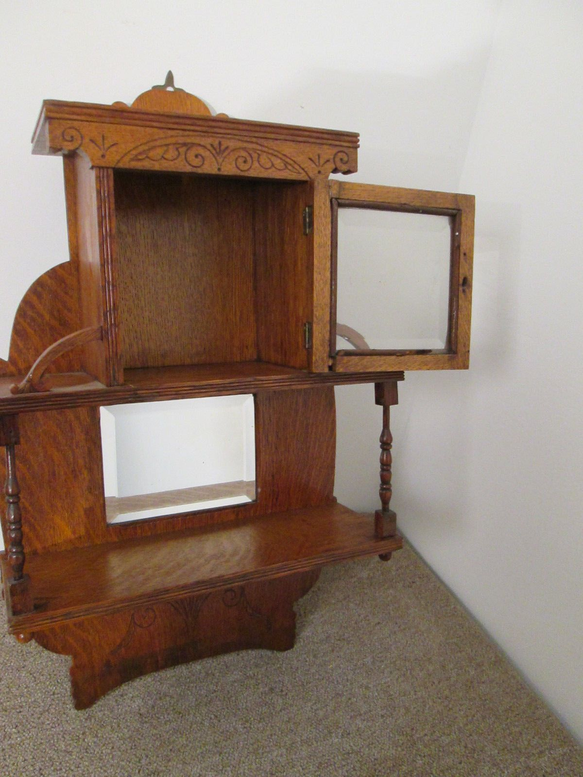 Edwardian (1901-1910) Other Antique Furniture Antique Edwardian Mahogany Wall Mounted Shelves Whatnot Collectors Shelving