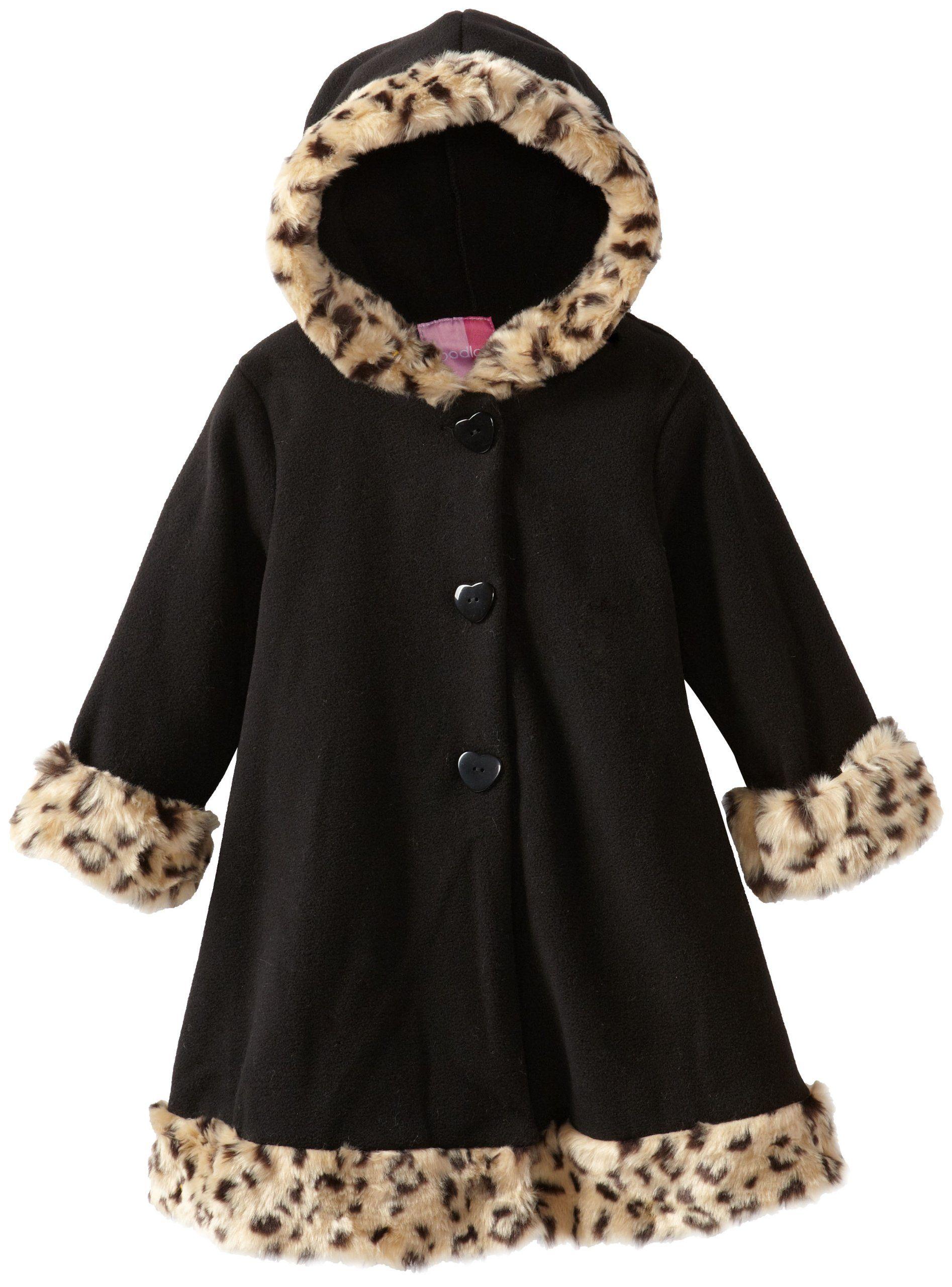 ba0019ac5 Good Lad Baby-Girls Infant Fleece Coat with Hood Leopard Fur Trim ...