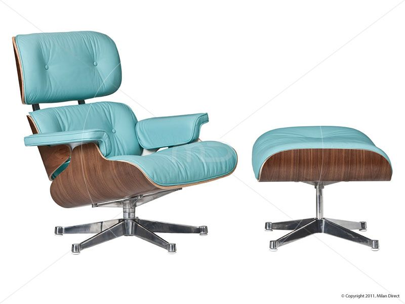 Eames Lounge Chair Reproduction In Aquamarine. Kind Of Interesting.